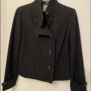 Black double breasted pea coat